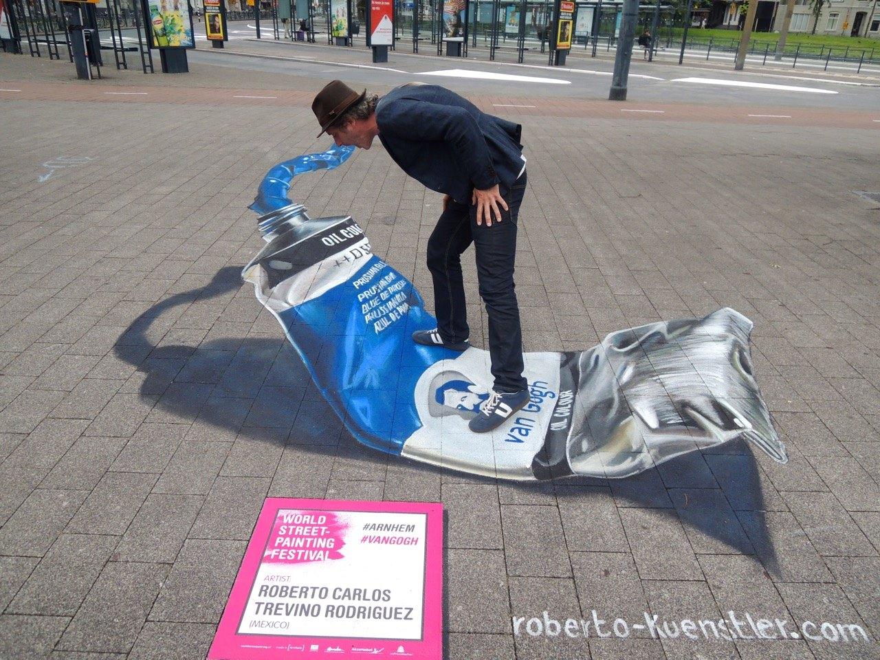 3D Straßenmalerei Farbtube in Arnhem