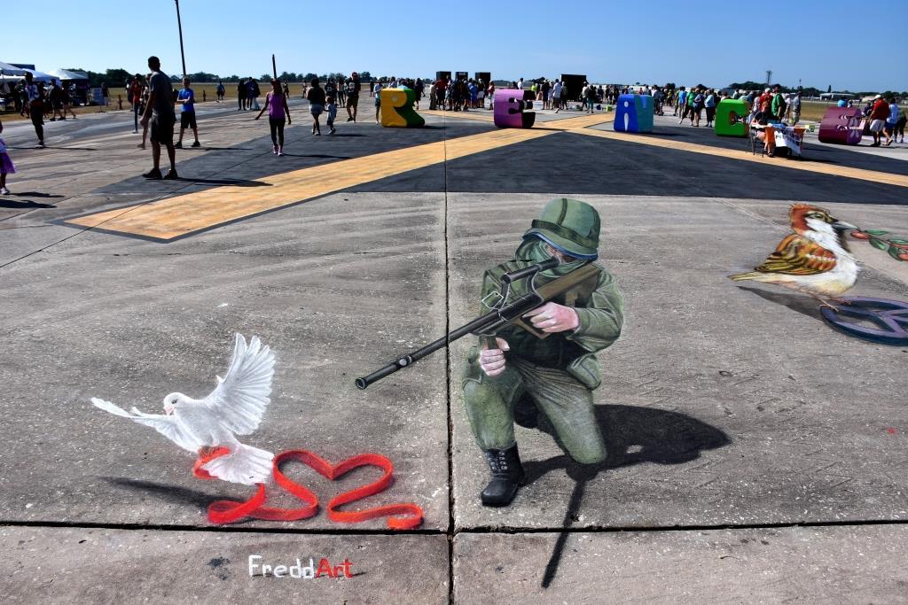 3D streetart freddart sniper peace and love