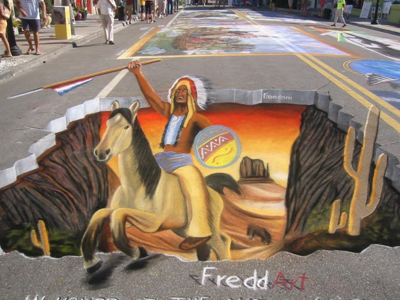 3D Strassenmalerei beim Sarasota Chalkfestival Florida