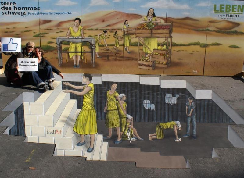 3D Strassenmalerei in Bern in der Schweiz
