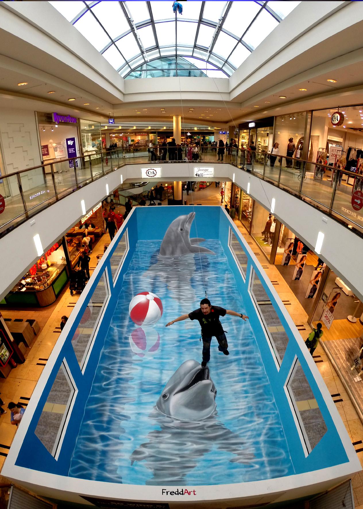 3D Straßenmalerei Delfine in Hamburg