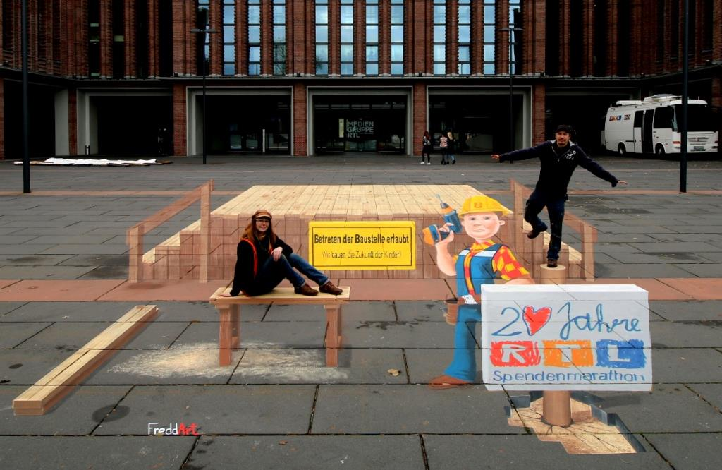 3D Straßenmalerei Bob der Baumeister in Köln