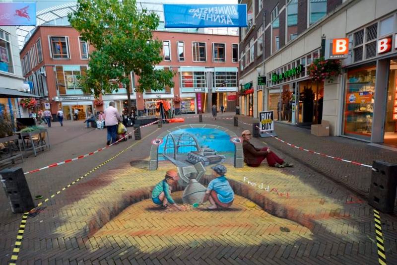 3D Strassenmalerei in Arnhem in den Niederlanden