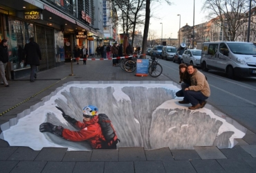 3D Strassenmalerei mit David Lama in Muenchen