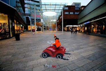 3D Straßenmalerei Bobbycar in Almere