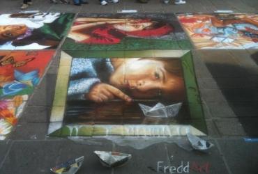3D strassenmalerei beim strassenmalfestival in Guadalajara Mexiko