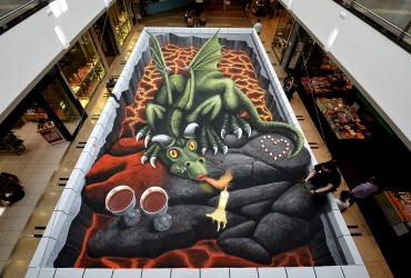 3D Straßenmalerei Drache in Hamburg