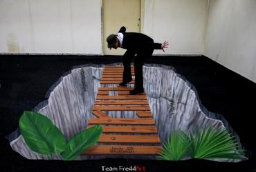 3D Streetart Brücke für Jack Wolfskin 2017 by FreddArt