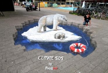 3D Streetart Climate SOS Arnhem 2017 by FreddArt