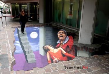 3D Streetart Tanz der Vampire in Sankt Gallen Schweiz 2017 by FreddArt