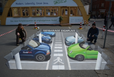3D Strassenmalerei Parkhaus in Jena Thueringen
