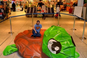 3D Straßenmalerei Schildkröte in Hamburg