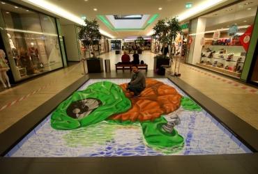 3d streetart aufblasbare Schildkröte