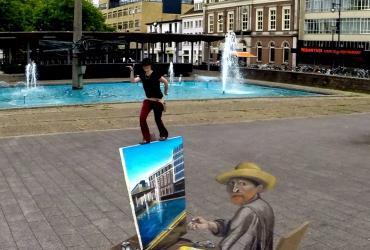 3D Straßenmalerei van Gogh in Arnhem