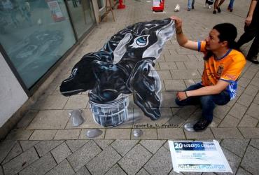 3d streetart aufblasbarer Wal