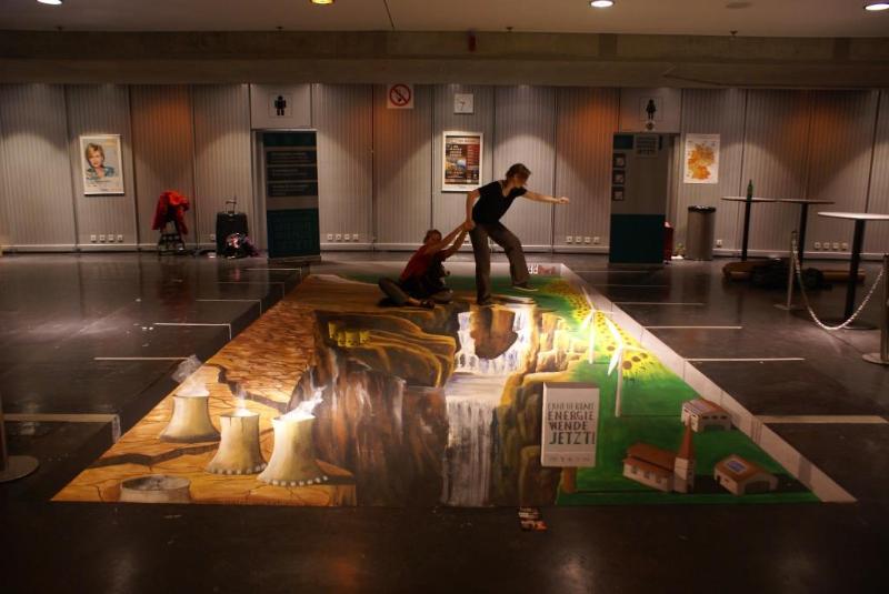 3D Strassenmalerei bei dem Parteitag der Gruenen