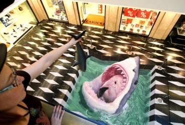 3D Streetart Hai in den Münsterarkaden 2017 by FreddArt