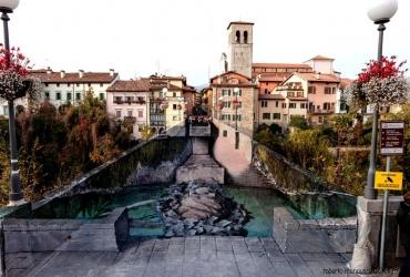 3D Streetart auf der Teufelsbrücke in Cividale del Friuli Italien