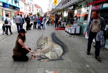 3d streetart Eichhoernchen