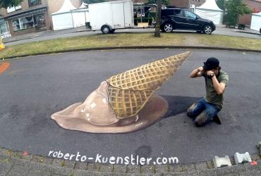 3D Straßenmalerei Eis in Nordhorn