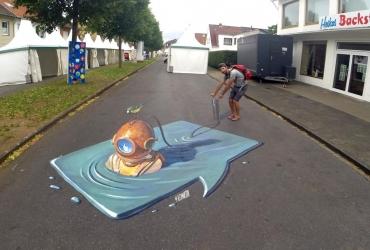 Alex Maksiov mit seiner 3D Streetart