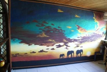 Elefanten im Sonnenuntergang Wandmalerei