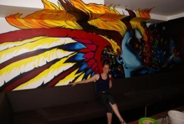 Wandmalerei im Pantau Nightclub in Köln by freddart