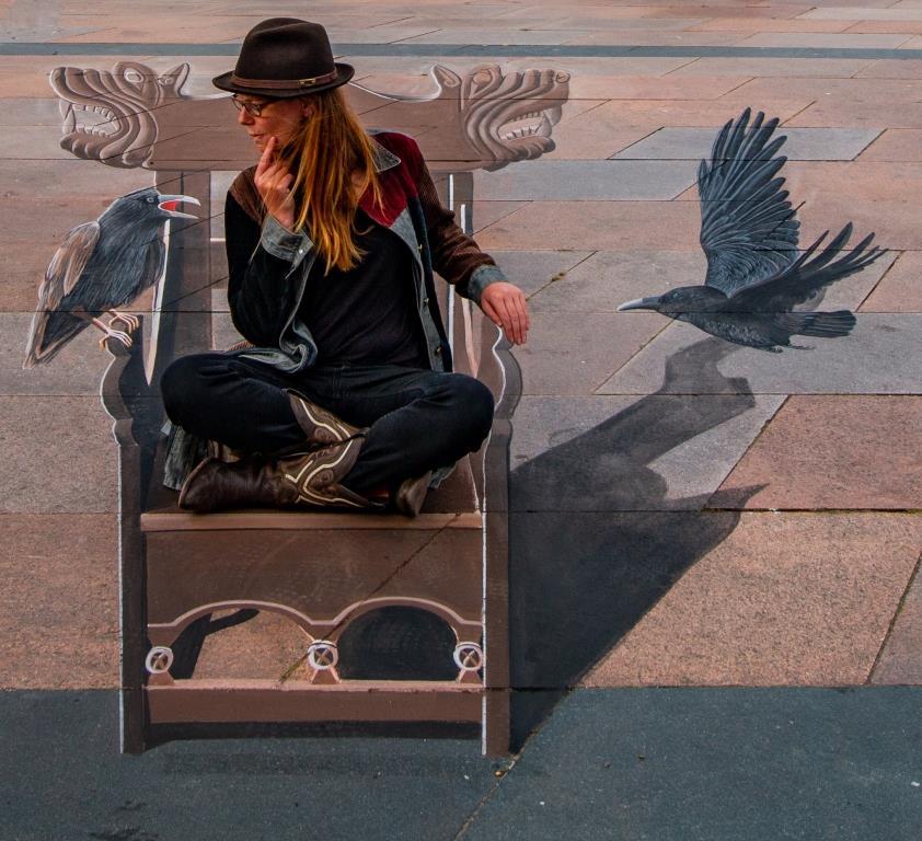 3D Straßenmalerei Künstlerin Fredda Wouters in Brande Dänemark